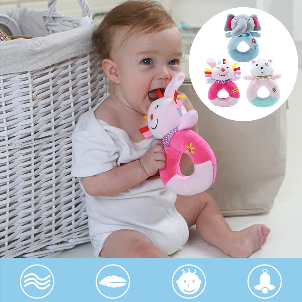 Baby Infant Animals Hand Bells Soft Hanging Bell Toys Rattle Bed Kids Play Toy Baby Rattles Mobiles Cute Activity Hanging Baby