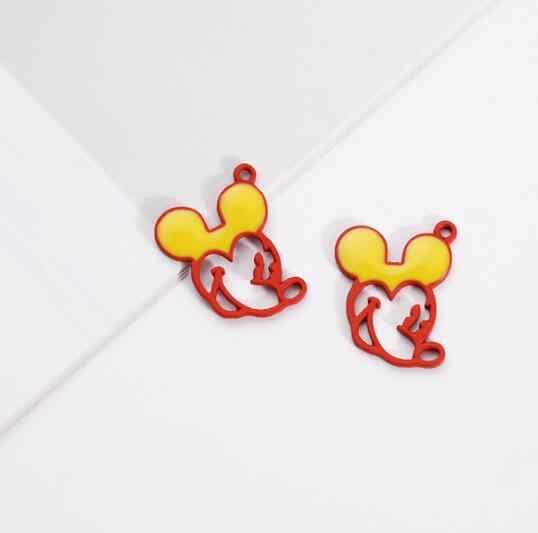 Nowy 50 sztuk kreskówka myszka miki głowy DIY metalowe wiszące wisiorki tworzenia biżuterii