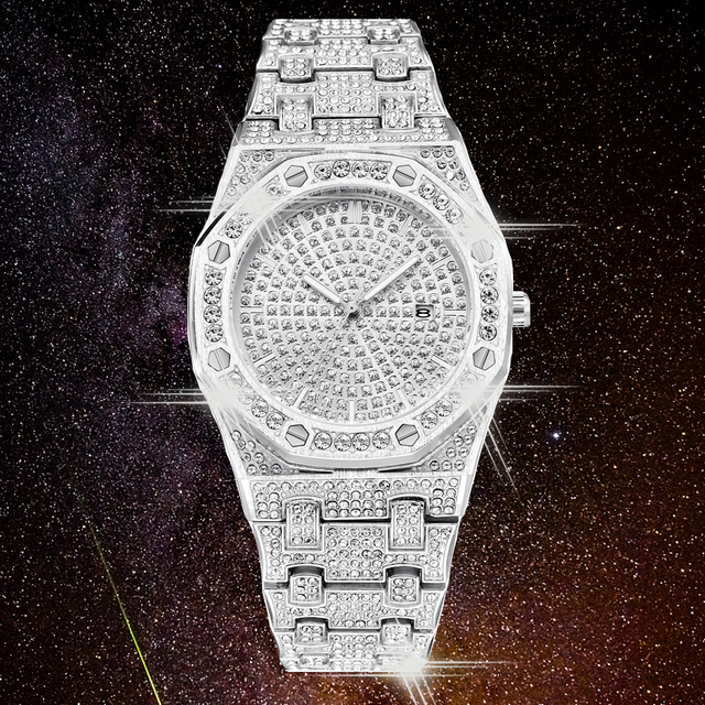 DropShipping חדש 2020 בלינג יהלומי שעון גברים אייס מתוך יוקרה Mens קוורץ שעונים איש שעוני יד כסף פלדת Relogio Masculino