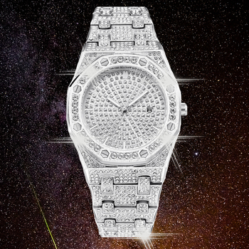 DropShipping New 2020 Bling Diamond Watch Men Iced Out Luxury Mens Quartz Watches Man Wristwatch Silver Steel Relogio Masculino