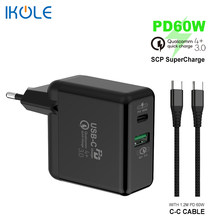 Ikole PD60W Snelle Opladen + Qc Supercharge 22.5W Type-C PD3.0 Usb Oplader Voor Snel Opladen Ondersteuning QC4.0 4 + QC3.0 Afc Mobiele Telefoon