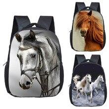 War Horse Backpack Boys Girls Children School Bags Cartoon Pony Kindergarten School Backpacks Baby Toddler Bag Kids BookBag