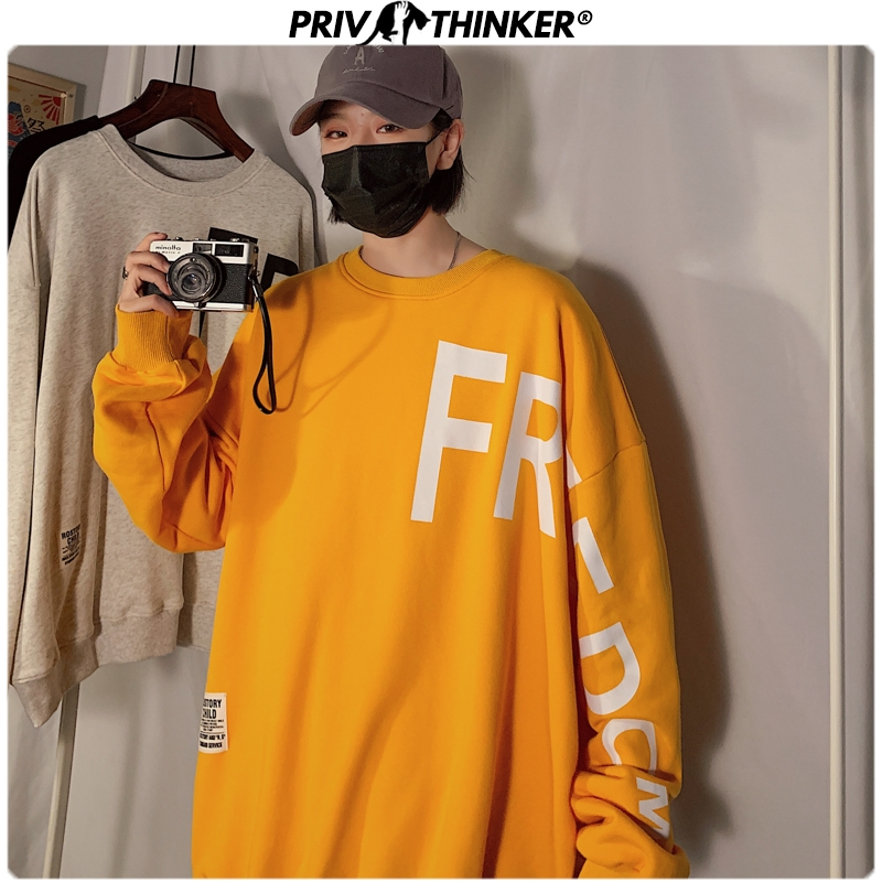 Privathinker Men 2020 Spring Letter Print Hoodies Mens Loose Pullover Couple O-Neck Sweatshirt Male Harajuku Fashion Sweatshirt