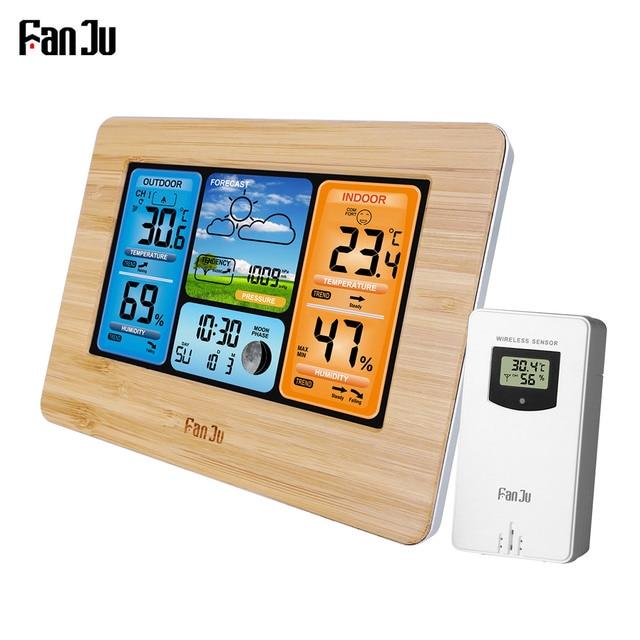FanJu FJ3373 קיר שולחן שעון מעורר תחנת מזג דיגיטלי מדחום מדדי לחות חיישן אלחוטי תחזית טמפרטורת שעון