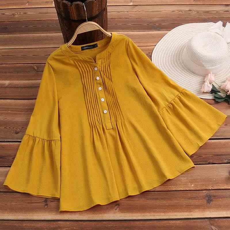 2019, женская желтая блузка, плиссированные рубашки элегантные расширяющиеся к низу рукава, топы с оборками, однотонные повседневные свободные офисные женские блузы, Mujer 5XL