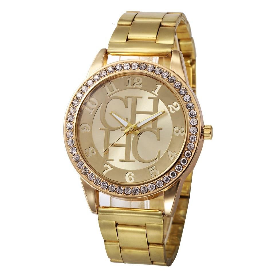 CHHC Rhinestone Fashion Gold Women Watch Ladies Casual Full Stainless Steel Luxury Brand Quartz Wristwatches reloj mujer