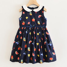 Girl Dresses Summer Girls Wedding Dress Sleeveless Fruit Pattern Dress Princess Dress Girls Lapel Dress For Girls(China)