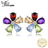 Genuine Citrine Garnet Peridot Topaz Stud Earrings 925 Sterling Silver Earrings For Women Korean Earings Fashion Jewelry 2019