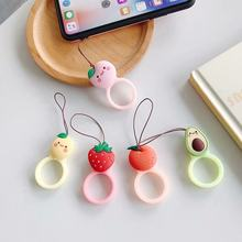Universal Cute Cartoon Fruit Strawberry Avocado Pear Orange Peach Soft Silicone Cell Phone Finger Ring Hand Strap Accessories(China)