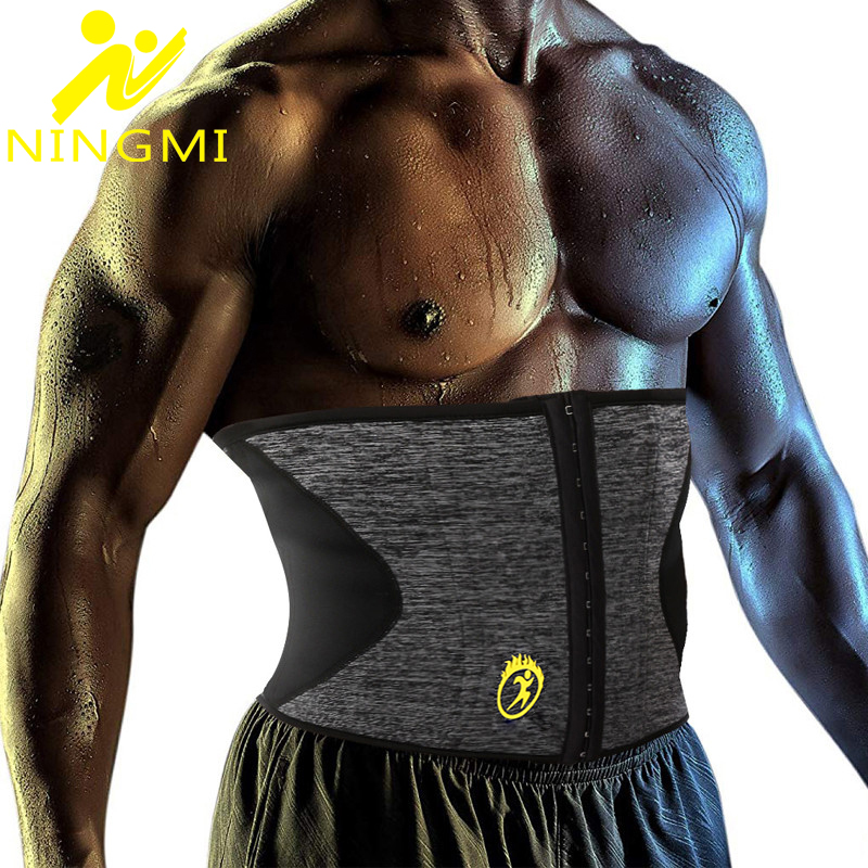 NINGMI Slim Body Shapers for Mens Waist Trainer Neoprene Sauna Cincher Modeling Belt Slimming Strap Shapewear Girdles