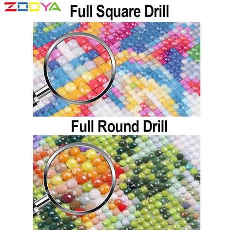 ZOOYA 5D DIY Diamond Embroidery Sewing Machine and Cloth &Tea Diamond Painting Cross Stitch Square Mosaic Decoration BK658 Lahore
