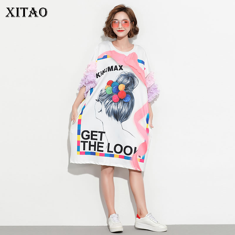 [XITAO] 2019 Spring Summer Europe Fashion Loose Knee-length Short Sleeve Cartoon Letter Print Lace Casual Pullover Dress DLL2099(China)