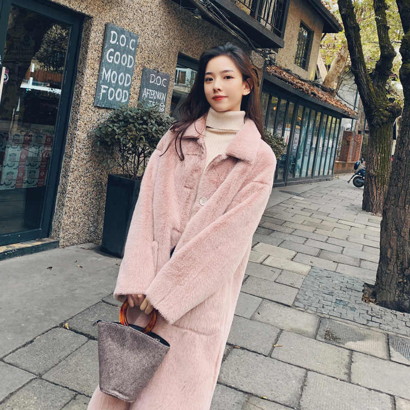 ACZ Import Dehaired Angora Composite  materials Chamois Furry Coat 19 Autumn Korean-style Women's Loose And Plus-sized Thick Med