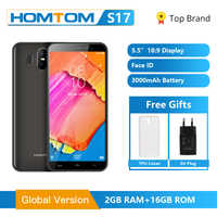 "Homtom original s17 android 8.1 quad core 5.5 ""18:9 display completo smartphone impressão digital face id 2 gb ram 16 gb rom telefone móvel"