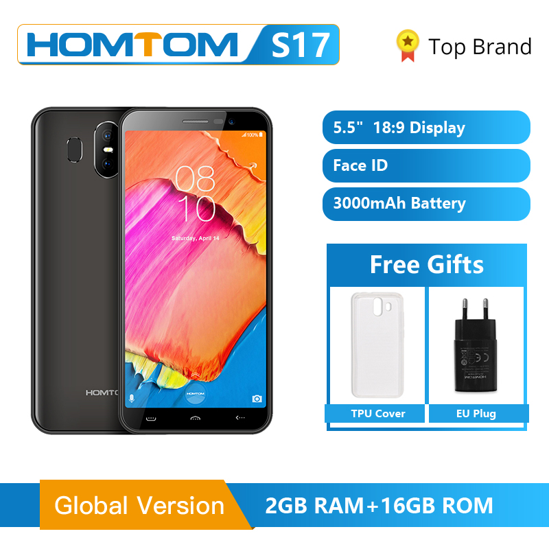 "Original HOMTOM S17 Android 8.1 Quad Core 5.5"" 18:9 Full Display Smartphone Fingerprint Face ID 2GB RAM 16GB ROM Mobile Phone"