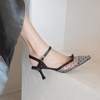 Sexy solid color simple mid-heel pointed wave sandals were thin and thin with a word buckle Baotou women's shoes Z506