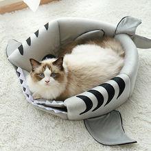 Новинка коврик для кошек домик в форме акулы теплый кровать
