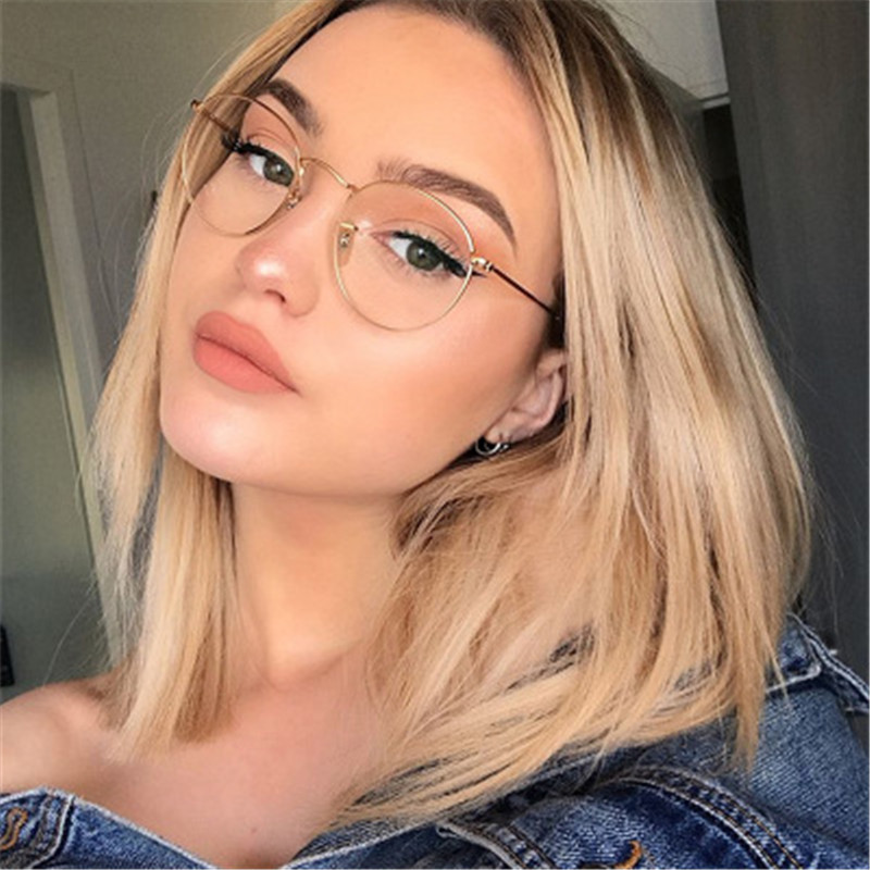 XojoX Round Glasses Frame Men Fashion Optical Eyeglasses Frames For Women Transparent Metal Spectacles