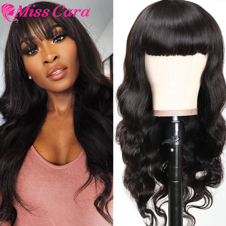 Clearance SaleúWig Human-Hair Perruque Body-Wave Bangs-Machine Made-Wig Cheveux Brazilian with 150%Density