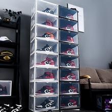2 упаковки, коробка для обуви AJ, коробка для хранения высоких баскетбольных ботинок, Пыленепроницаемая, из твердого материала, прозрачная ко...