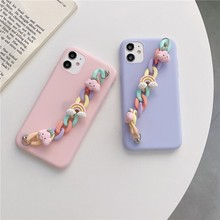 Cute Candy Colors Cloud Chain Wristband Female Soft Case For Iphone 11 12 Pro Max 7 8 Plus Xr X Xs Se 2020 Phone Cover Fundas