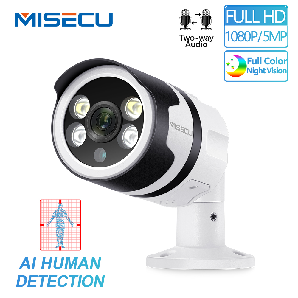 MISECU H.265 1080P AI Camera Human Detection 5MP POE IP Camera Two-Way Audio Security Outdoor Waterproof Full Color Night Vision