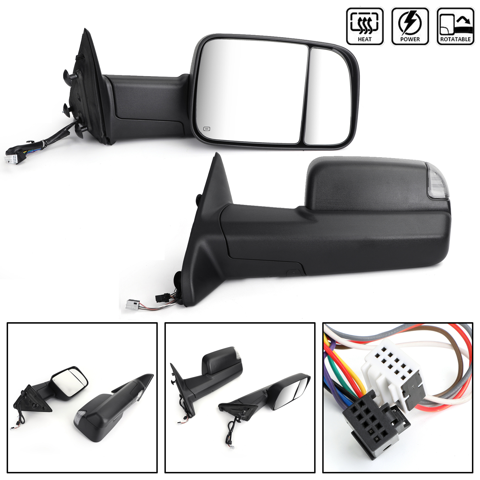 FOR 09-12 DODGE RAM 1500-3500 TRUCK POWER+HEATED REAR VIEW TOWING MIRROR PAIR