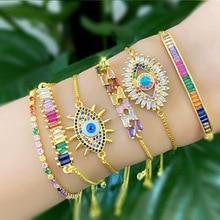 2020 Design Stereoscopic Bracelet for Women Adjust Size Colorful CZ Charm Bracelets Chain Link Fashion Jewelry цена 2017