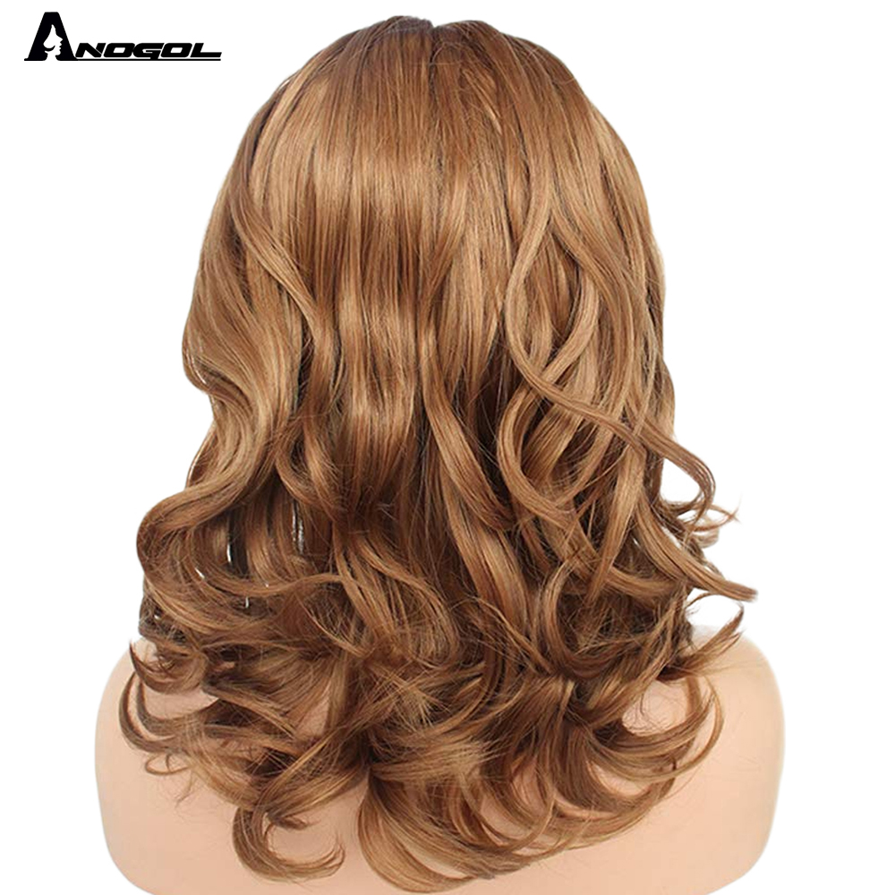 "Image 3 - Anogol Brown 12"" Glueless High Temperature Fiber Synthetic Lace Front Wig Natural Short Body Wave Bob Hair Wigs For White WomenSynthetic None-Lace  Wigs   -"