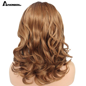 "Image 3 - Anogol Brown 12"" Glueless High Temperature Fiber Synthetic Lace Front Wig Natural Short Body Wave Bob Hair Wigs For White Women"