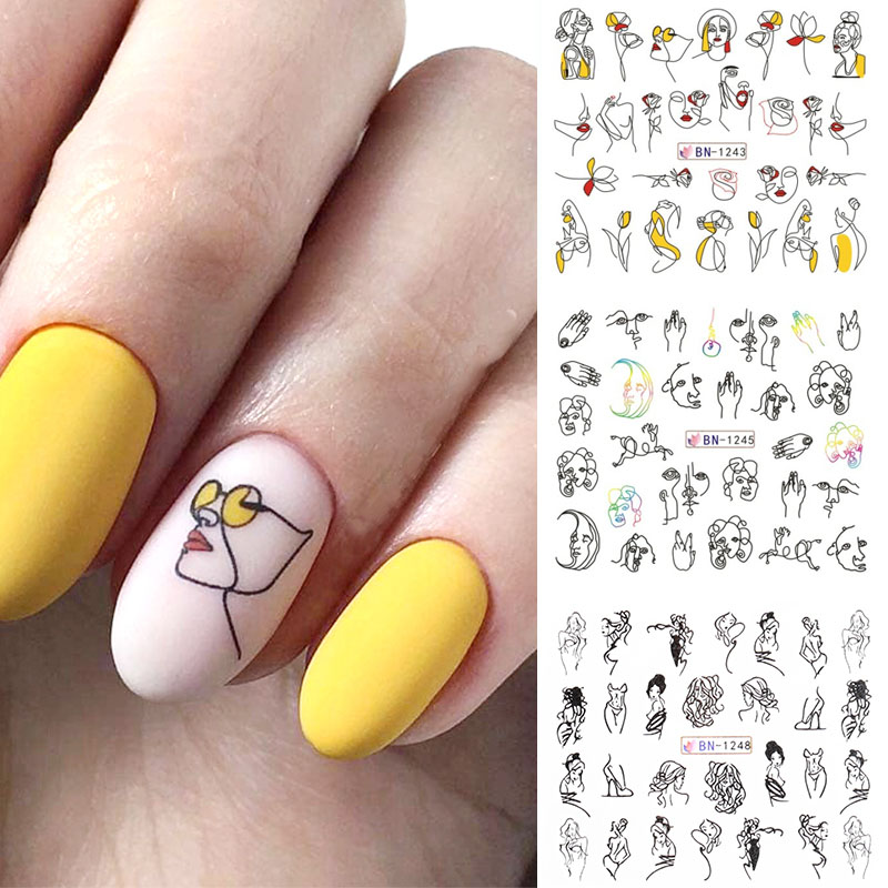 11 Models / Sheet Colorful Black Line Abstract Image Nail Girl Stickers Sexy Water Transfer Slider For Nail Art