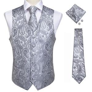 Image 2 - Мужской жилет верх DiBanGu, серебристый, красный, оранжевый, синий жилет для делового костюма, свадьбы, вечеринки, запонки, жилеты