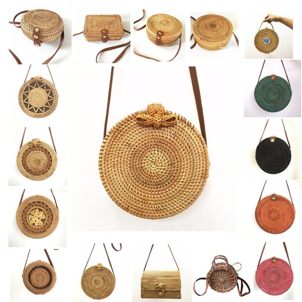Handmade Woven Multicolor Round Rattan Bag Bali Retro Hollow Shoulder Bag Beach Travel Crossbody Bag Women Mini Circle Straw Bag Сумка
