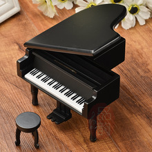 Wooden simulation music box Creative wooden black grand piano music box