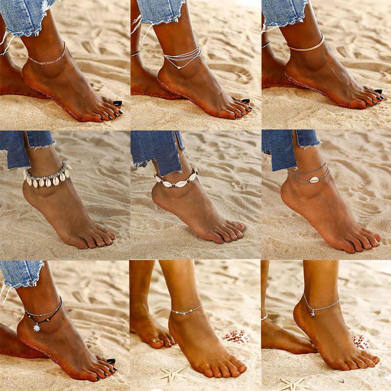 ボヘミアンチェーン足首のブレスレット女性のための裸足かぎ針サンダルフットジュエリー 2019 夏のビーチファッションスタイルアンクレットジュエリー