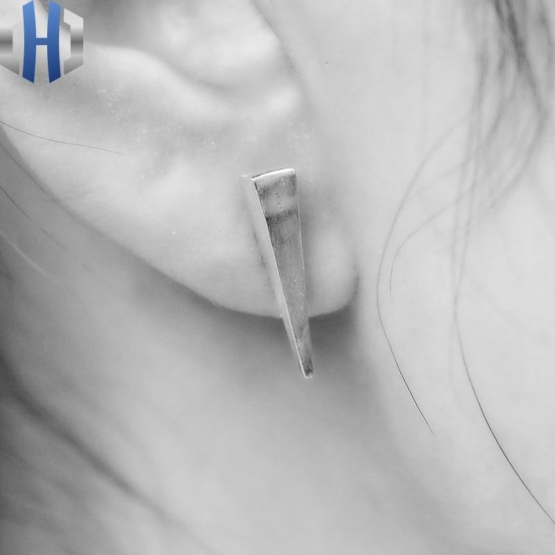 Original Handmade Silver Literary House Dark Dark Triangle Stud Earrings 925 Sterling Silver Earrings in Stud Earrings from Jewelry Accessories