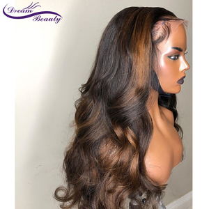 Image 5 - Highlight Lace Frontal Wigs 13x6 Deep part Lace front Wigs Glueless Lace Human Hair Wigs Ombre Wigs Brazilian Remy Wavy Wig