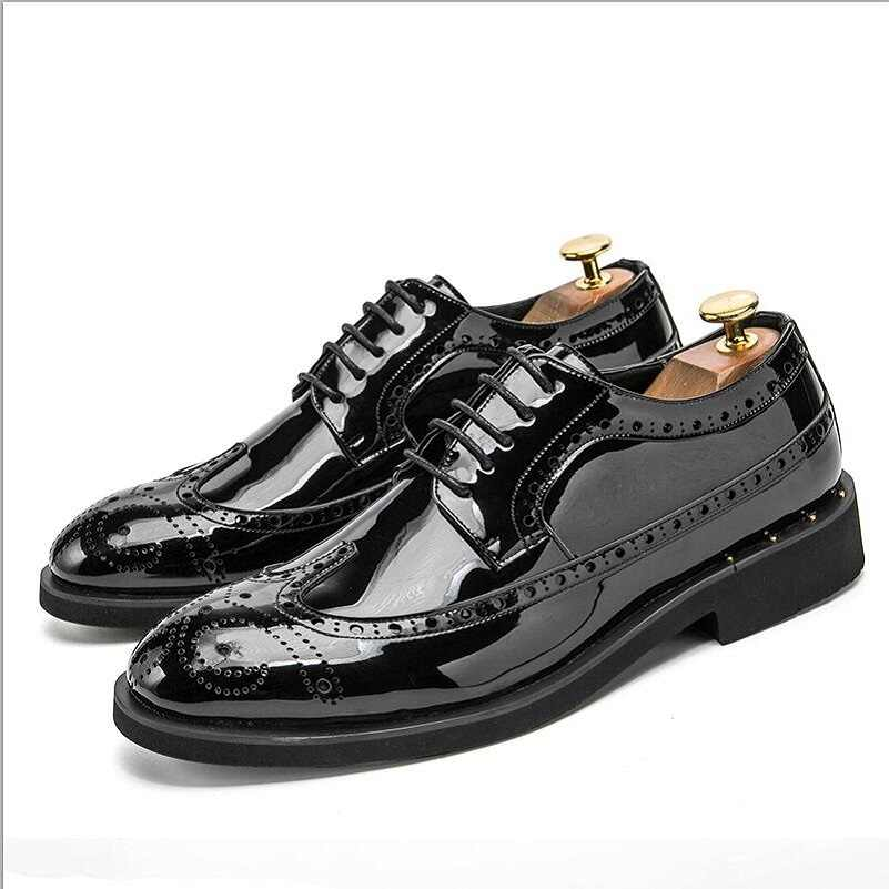 Mens Dress Formal Gold Shiny Leather Lace UP Wing Tip Brogue Party Carved Shoes