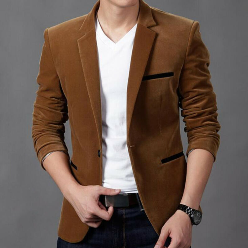 Men's Formal Slim Fit One Button Suit Blazer Business Coat Jacket Casual Tops Formal One Button Suit Blazer Coat Jacket Top