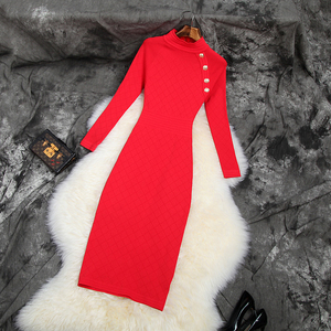 Image 1 - 2019 NIEUWE Elastische Slanke Potlood jurk trui Beroemdheden Club jurken breien herfst volledige mouw werk Vrouwen Winter Party Dress