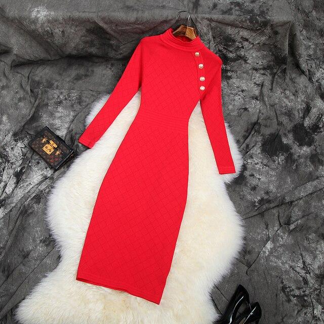 2019 NIEUWE Elastische Slanke Potlood jurk trui Beroemdheden Club jurken breien herfst volledige mouw werk Vrouwen Winter Party Dress