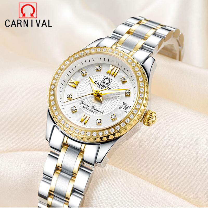 Carnival Mechanical Women Watches Switzerland Luxury Brand Sapphire Automatic Watch Women Luminous Ladies Wristwatch Reloj Mujer