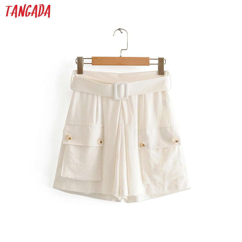 Tangada Women Summer White Shorts Zipper With Belt Pockets Casual Streetwear Ladies Short Jeans Pantalone 3W87