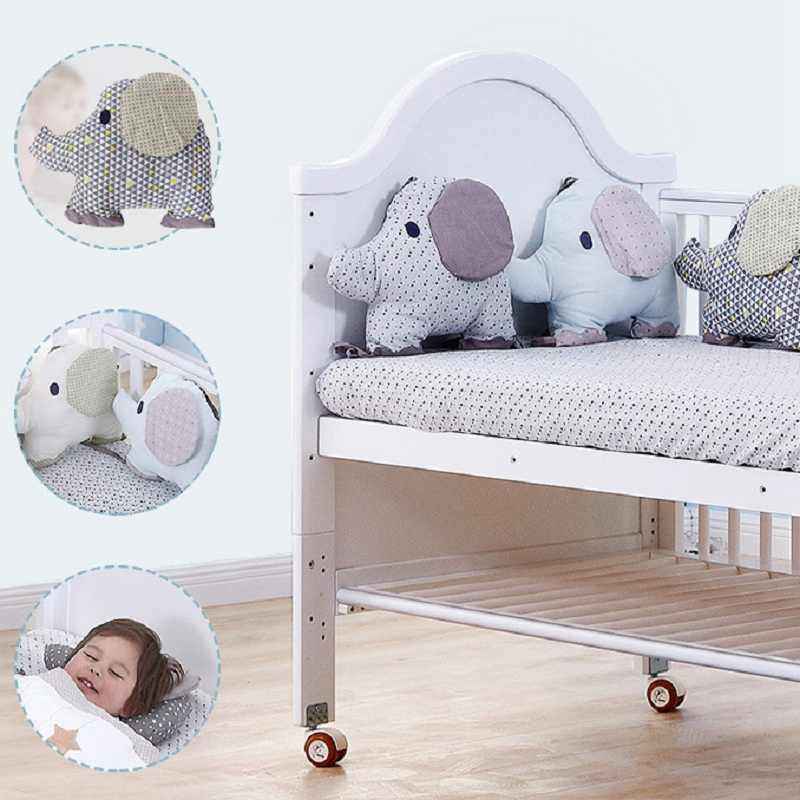 6Pcs/Lot Baby Bed Bumper Crib Cot Elephant Bumper Baby Bed Protector Crib Bumper Newborns Toddler Bed Bedding Set