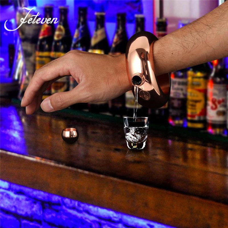 Stainless Steel Bangle Bracelet Hip Flask Alcohol Whiskey Liquor Pot Holder Drinkware Jewellery Gift