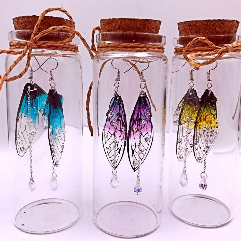 Dragonfly Cicada Butterflies Simulated Wing Material Pendant Earring DIY Jewelry Cicada Wings Earrings DIY