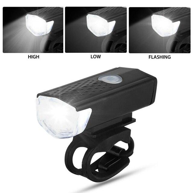 Luz da bicicleta usb recarregável 300 lumens luz da bicicleta led dianteiro farol traseiro lanterna traseira ciclismo luz de advertência 4