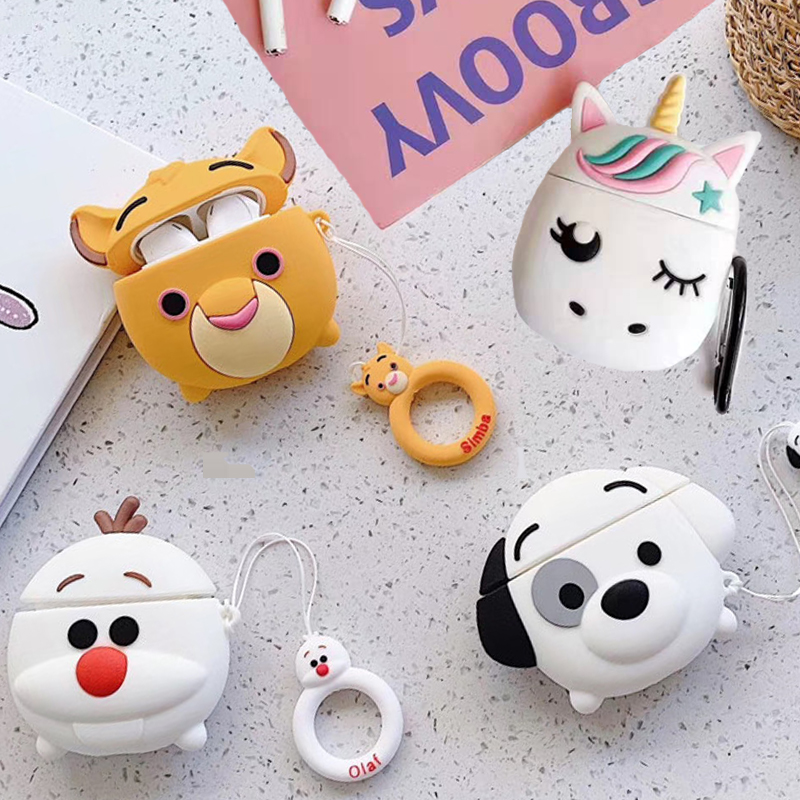 For Apple AirPods 1 3D Cute Cartoon Lion Dog Puppy Case For Airpods 2 Unicorn Snowman Wireless Earphone Cover Shell Charging Box