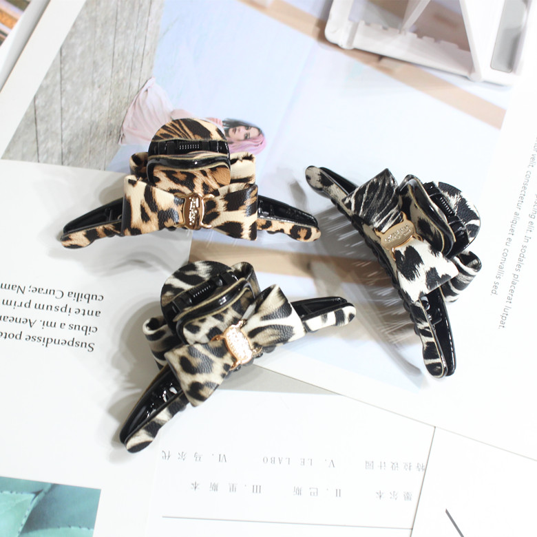 Women large bowknot Hair Clip leather Leopard grain Crab Claws Make Washing Tool Accessories