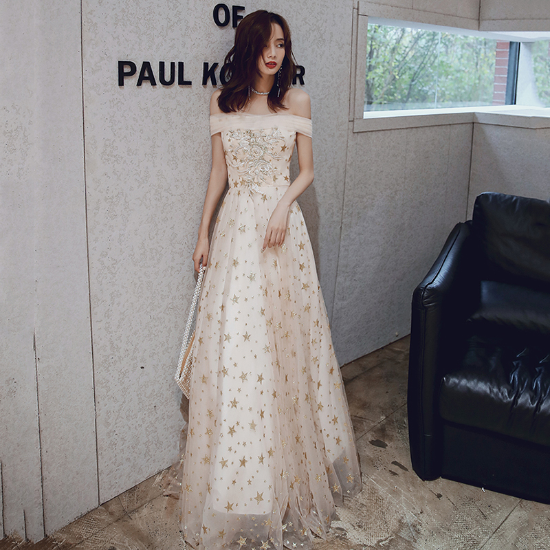 Off The Shoulder Women Party Dresses CR399 Champagne A-Line Evening Gowns Embroidery Robe De Soiree Sequined Formal Vestidos